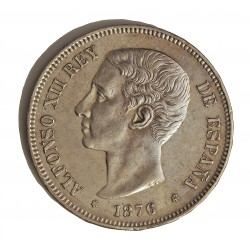 España 5 Ptas. 1876. *18*76. Madrid. DEM. EBC-/EBC. (Insig.gpcto.cto..Muy bonito). AG. 25gr. Ø37mm. HG. 127