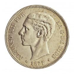 España 5 Ptas. 1877. *18*77. Madrid. DEM. MBC+/EBC-. (Marquitas.Bonita). AG. 25gr. Ø37mm. HG. 128
