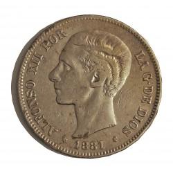 España 5 Ptas. 1881. *-8*81. Madrid. MSM. MBC-. AG. 25gr. Ø37mm. CT. 30 - HG. 132