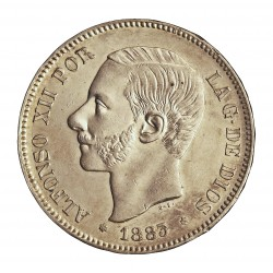España 5 Ptas. 1883. *18*83. Madrid. MSM. SC-/EBC+. (Coserva tono original.Golpe cto..Muy bonita). AG. 25gr. Ø37mm. CT. 33 - H
