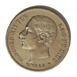 España 5 Ptas. 1885. *18*87. Madrid. MPM. MBC-. AG. 25gr. Ø37mm. CT. 10 - HG. 139