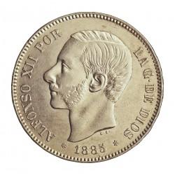 España 5 Ptas. 1885. *18*87. Madrid. MPM. MBC+. (Muy bonito). AG. 25gr. Ø37mm. CT. 10 - HG. 139