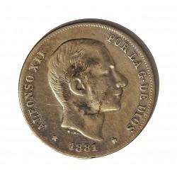 España 20 Ctvo.Peso. 1881. Manila. MBC-. AG. 5gr. Ø23mm. CT. 75