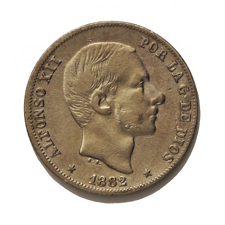 España 20 Ctvo.Peso. 1882. Manila. MBC-. AG. 5gr. Ø23mm. CT. 76