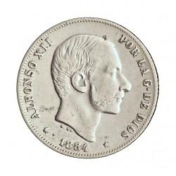 España 20 Ctvo.Peso. 1884. Manila. MBC+. RARO/A. AG. 5gr. Ø23mm. CT. 78