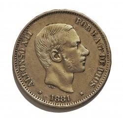 España 50 Ctvo.Peso. 1881. Manila. MBC/MBC+. MUY ESCASO/A. AG. 12,5gr. Ø30mm. CT. 69