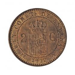 España 2 Cts. 1912. *12. Madrid. PCV. SC. (Casi todo su brillo original). CU. 2gr. Ø20,5mm. CT. 73 - HG. 13