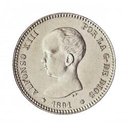 España 1 Ptas. 1891. *-8*91. Madrid. PGM. EBC+/SC-. (Casi nueva con lev.marquitas anv..Tono original). AG. 5gr. Ø23mm. CT. 38