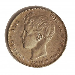 España 1 Ptas. 1896. *18*96. Madrid. PGV. MBC+. AG. 5gr. Ø23mm. CT. 41 - HG. 71