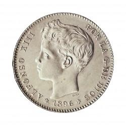 España 1 Ptas. 1896. *18*96. Madrid. PGV. SC-/SC. (Tono original). AG. 5gr. Ø23mm. CT. 41