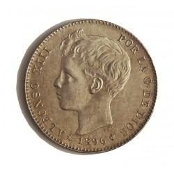 España 1 Ptas. 1896. *18*96. Madrid. PGV. EBC+. (Muy lev.marquitas.Tono y brillo original). AG. 5gr. Ø23mm. CT. 41