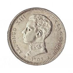 España 1 Ptas. 1903. *19*03. Madrid. SMV. EBC+/SC-. (Nueva con muy lev.marquitas por roce). AG. 5gr. Ø23mm. CT. 50