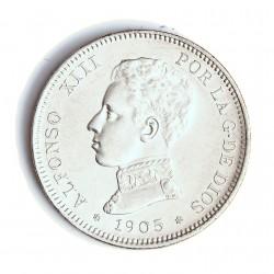 España 2 Ptas. 1905. *19*05. Madrid. SMV. SC-. (Lev.marquitas. Su tono). AG. 10gr. Ø27mm. CT. 34