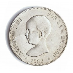 España 5 Ptas. 1888. *18*88. Madrid. MPM. MBC+. (Marquitas). (Busto en pico). AG. 25gr. Ø37mm. CT. 12