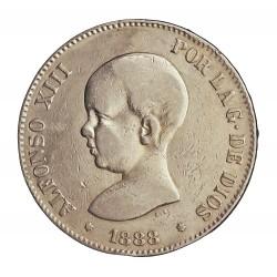 España 5 Ptas. 1888. *18*88. Madrid. (MSM). MBC-. (Busto en pico). (Rectificadas del ensayador inicial MPM por las de MSM). AG
