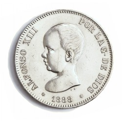 España 5 Ptas. 1888. *18*88. Madrid. MPM. EBC-. (Finas rayitas anv..Brillo por limpieza.Bonito). (Busto redondo). AG. 25gr. Ø3