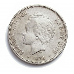 España 5 Ptas. 1892. *18*92. Madrid. PGM. MBC-. (Tipo Bucles). AG. 25gr. Ø37mm. CT. 19