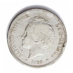 España 5 Ptas. 1893. *--*--. Madrid. PGV. RC+. AG. 25gr. Ø37mm. CT. 23