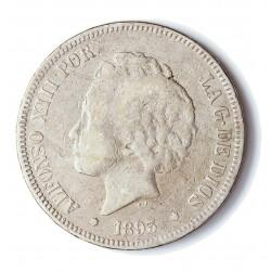 España 5 Ptas. 1893. *--*--. Madrid. PGV. BC+. AG. 25gr. Ø37mm. CT. 23