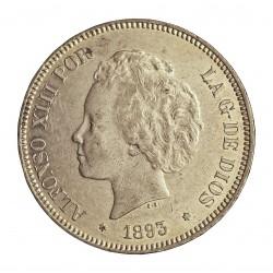 España 5 Ptas. 1893. *18*93. Madrid. PGL. EBC+/SC-. (Marquitas de roce.Tono original). AG. 25gr. Ø37mm. CT. 22 - HG. 148