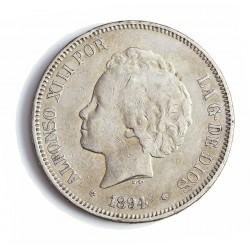 España 5 Ptas. 1894. *18*94. Madrid. PGV. MBC-. (Imagren Tipo. Calidades Similares). AG. 24,8gr. Ø37mm. CT. 24 - HG. 150