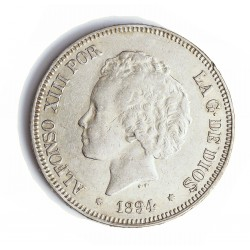 España 5 Ptas. 1894. *18*94. Madrid. PGV. MBC. (Gpcto.Marquitas). (Oreja rayada). AG. 25gr. Ø37mm. CT. 24 Similar - HG. 150