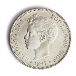 España 5 Ptas. 1897. *18*97. Madrid. SGV. EBC-/EBC. (Insig.gpcto..Marquitas.Parte de su tono). AG. 25gr. Ø37mm. CT. 26