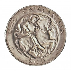 España 5 Ptas. 1900. Barcelona. (Vallmitjana). MBC+. (Pqños.gpcitos.canto, si no seria EBC/+). (Canto liso). AG. 25gr. Ø26mm.