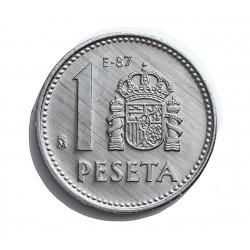 España 1 Ptas. 1987. E-87. PRF. (Procedente de Carterita oficial E-87). AL. 1,5gr. Ø21mm. HG. 404
