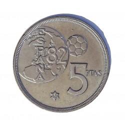 España 5 Ptas. 1975. *80. SC. (ERROR Mundial). NI. 5,74gr. Ø23mm. HG. 388 a