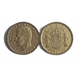 España 100 Ptas. 1985. SC. (PAREJA)-(LIS arriba y abajo). MUY ESCASO/A. AL+AE. 9,3gr. Ø24,5mm. CAMP. 489