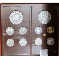 España Serie. 2000. PRF. (Coleccion Completa: Vº Cº Carlos V). MUY ESCASO/A. (9 Mdas. Plata:552,12gr./510,71 gr.Fina+2 Mdas. Oro