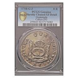 España 8 Reales. 1758. G-(Guatemala). J. AG. 26,7gr. (Pcgs/ 37176082). (Tipo Columnario). Ø39mm. PCGS. (XF). RARO/A. CT. 264 -