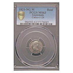 España ½ Reales. 1821. NG-(Guatemala). M. AG. 1,7gr. (Pcgs/ 37176045). Ø17mm. PCGS. (MS63). (Tono y brillo original). CT. 1157