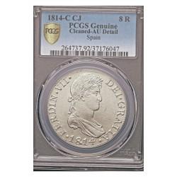 España 8 Reales. 1814. Cadiz. C.J. AG. 27,07gr. (Pcgs/ 37176047). Ø37mm. PCGS. (AU)-(Lev.marquitas.Bonita moneda)-(EBC-/EBC).
