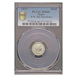 España 1 Reales. 1853. Barcelona. AG. 1,25gr. (Pcgs/ 37176131). Ø15mm. PCGS. (MS66. Todo su tono y brillo originales). CT. 387