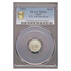 España 1 Reales. 1853. Barcelona. AG. 1,25gr. (Pcgs/ 37373401). Ø15mm. PCGS. (MS65. Todo su tono y brillo originales). CT. 387
