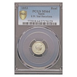 España 1 Reales. 1853. Barcelona. AG. 1,25gr. (Pcgs/ 37176129). Ø15mm. PCGS. (MS64. Todo su tono y brillo originales). CT. 387