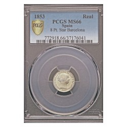 España 10 Reales. 1851. Madrid. AG. 13,1gr. (Pcgs/ 27176041). Ø30mm. PCGS. (MS66. Todo su tono y brillo originales). MUY ESCASO