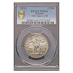 Alemania Estados 2 Marcos. 1913. A-(Berlin). PRUSIA. AG. 11,11gr. (Pcgs/ 37373405). (100º Anv.Victoria sobre Napoleón/Leipzig).
