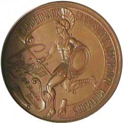 España Medalla Militar. AE. 127gr. Anv: Guerrero a la carrera a izqda. con lanza y escudo. Ley: Campeonatos Gimnasticos Deportiv