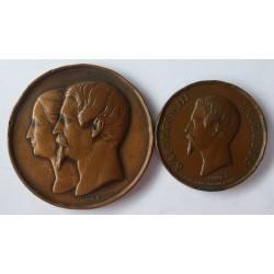 Francia Medalla. 1850. 1867. AE. 40gr. (Napoleon III y Eugenia). (LOTE-2 MEDALLAS). (1 de 28mm + 1 de 38m/m). EBC-/EBC