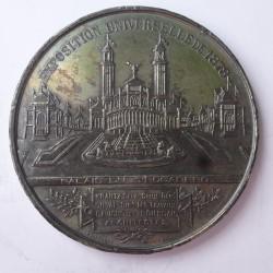 Francia Medalla. 1878. SN. 47,5gr. Anv: Ley.:EXPOSITION UNIVERSELLE 1878. (Vistas del Palacio del Trocadero. En Exergo: Krantz S