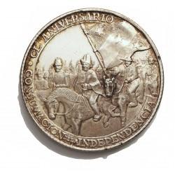 Mejico Medalla. 1971. AG. 25gr. Anv: El Gral. Iturbide a caballo flanqueado de su tropa i la bandera Trigarante.Ley: CL ANIVERSA