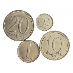 Angola LOTE. 1978. 1979. SC. CUNI. 2,05gr. (4 valores: De 1 a 20 Kwanza + 50 lwei). KM. 83,86.1,87,90