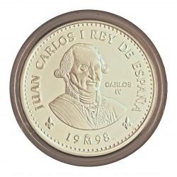 España 2000 Ptas. 1998. PRF. (Sin estuche.Con certif.). (Serie 2ª-Borbones-Carlos IV). AG. 27gr. Ø40mm