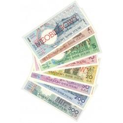 Polonia LOTE. 1990. SC. (9 billetes:de 1 a 500 Zlot.). PIK. 164 a 172 a
