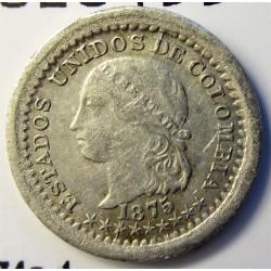 Colombia 5  Ctvo.  1875. Bogota. AG. 1,25gr. Ley:0,666. Ø14mm. MBC. KM. 174a.1