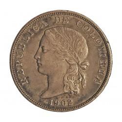 Colombia 50  Ctvo.  1902. Filadelfia. AG. 12,5gr. Ley:0,835. Ø30mm. MBC+/EBC. KM. 192