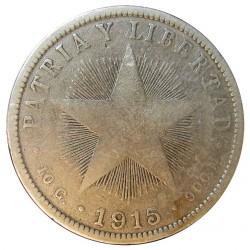 Cuba 40 Ctvo. 1915. AG. 10gr. Ley:0,900. (Tipo Estrella). Ø29mm. MC+/RC-